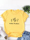 Casual Basic Letter Floral Short Sleeve O-neck T-Shirt - Gold