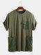 Camiseta holgada informal de manga corta para hombre decorada con bolsillos grandes - Ejercito verde