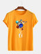Mens Cotton Astronaut Colorful Planet Print O-Neck Casual Short Sleeve T-Shirts - Yellow