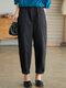 Solid Elastic Waist Casual Harem Pants with Pocket - Black
