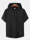 Mens Hooded Contrasting Colors Trim Short Sleeve Casual T-Shirt - Black