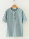 Casual Embroidery Short Sleeve Plus Size Shirt for Women - Blue
