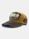 ユニセックスウォッシュドコットンパッチワーク破損文字番号刺繡ファッション野球帽 - 黄