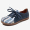 LOSTISY Women Pattern Splicing Decor Comfy Flat Casual Loafers - Blue
