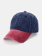 Unisex Washed Distressed Cotton Color-match Fashion Breathable Baseball Cap - Dark Blue