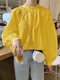 Solid Color Stand Collar Long Sleeve Casual Blouse For Women - Yellow