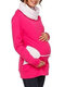 Plus Size Stand Collar Maternity Long Sleeve Nursing Tops S-5XL - Rose