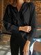 Solid Color V-neck Twisted Long Sleeve Blouse - Black