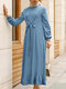 Casual Solid Color Zip Front Long Sleeve O-neck Plus Size Knotted Dress - Blue