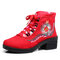Women Folkways Floral Embroidery Non Slip Soft Sole Chunky Heel Short Boots - Red