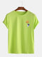 Mens Cotton Funny Astronaut Print Casual Short Sleeve T-Shirts - Green