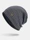 पुरुषों की शीतकालीन Plus मखमली प्लेड पैटर्न आउटडोर लंबी बुना हुआ गर्म बेनी टोपी - नौसेना