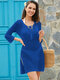 Women Knit Hollow Out Bandage Neck Side Split Cover Up Swimsuit - Blue