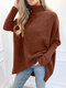 Solid Color High Neck Dolman Sleeve Sweater - Coffee