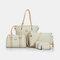 Women 6 PCS Print Large Capacity Handbag Shoulder Bag Tote - Coffee