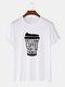 メンズ100%コットンレターコーヒーグラフィックスカジュアル半袖Tシャツ - 白い
