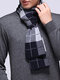 Men Business Pure Wool Thick Warm Scarf Casual High Quality Plaid Scarves - Navy