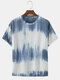 Mens Gradient Color Print Summer Breathable Loose O-Neck T-Shirts - Grey