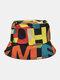 Lettera in cotone unisex Modello Stampa Colorful Cappello da pescatore fashion - Nero