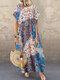 花柄パッチワーク半袖AラインPlusサイズのドレス - 青い
