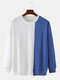 Mens Contrast Patchwork Cotton Relaxed Fit Round Neck Sweatshirts - Blue