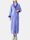 Women Flannel Lapel Thicken Warm Long Sleeve Belted Robes With Pockets - Purple