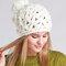 Women Knit Beanie Hat Hooded Hat Hand-woven Hollow Wool Cap Casual Outdoor Warm Windproof Hat