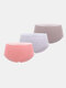 Women Cotton Solid 3Pcs High Waist Seamless Breathable Thin Panties - #02