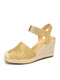 Women's Closed Toes Sandals Casual Metallic Espadrille Wedges - Pure Gold
