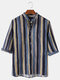 Mens Colorful Striped Oil Print Breathable Light 3/4 Sleeve Henley Shirts - Blue