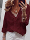 Dots Lace Embroidered Long Sleeves Casual Blouse for Women - Wine Red
