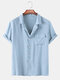Men Candy Color Solid Printed Beach Holiday Casual Shirt - Blue