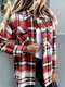 Check Pocket Button Lapel Long Sleeve Loose Shackets Blouse - Red