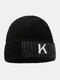 メンズレターパターンPlus厚手の冬は暖かく防風ニット帽を保つ - 黒