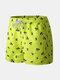 Green Print Mini Shorts Drawstring Quick Dry Surfing Swim Shorts Casual Print Shorts for Men - Green