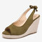 LOSTISY Women Comfy Breathable Slingback Casual Espadrilles Wedges Sandals - Green