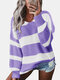 Contrast Color Striped Print Long Sleeves Sweater for Women - Purple