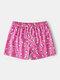 Cute Cake Print Pattern Holiday Surfing Beachwear Mesh Lining Board Shorts Pockets Swim Pants - Pink