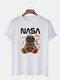 Mens NASA Space Bear Print O-Neck Casual Loose Short Sleeve T-Shirt - White