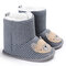 Baby Toddler Shoes Cute Comfy Cotton Cloth Warm Soft Sole Hook Loop Snow Boots - Grey Blue