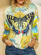 Laeves Butterfly Print Long Sleeve O-neck Blouse For Women - Yellow