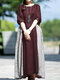 Casual Patchwork Half Sleeve Plus Size Maxi Dress - Wine Red