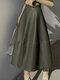 Solid Color Patchwork Leather Long Casual Skirt for Women - Army green