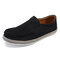 Leather Solid Color Loafers Lazy Slip On Casual Flat Boat Shoes