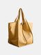 Women Vintage Oversized bag Soft PU Leather Every Day Bag Shopping Bag Slouchy Tote Handbag - Yellow