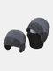 Men Dual-use Detachable Mask Plus Thick Warm Windproof Face Ear Protection Headgear Knitted Hat For Riding - Dark Gray