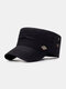 Men Cotton Solid Color Casual Sunshade Peaked Cap Army Hat Military Hat - Black