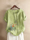 Flowers Print O-neck Plus Size T-shirt for Women - Green