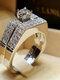 Trendy Geometric Metal Diamond Rings Temperament Rhinestone Rings - #08
