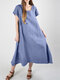 Casual Solid Color Short Sleeve Plus Size Dress - Blue